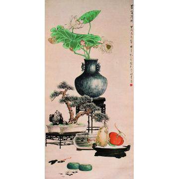 孔小瑜1934年作芸窗清供立轴