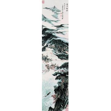 陆俨少1988年作峡江行旅立轴