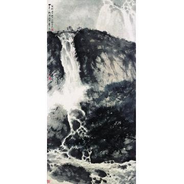 傅抱石一九六○年作深山飞瀑镜心