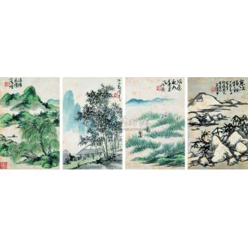 蒲华山水册页(八开选四)