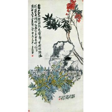 吴昌硕仙卉图立轴