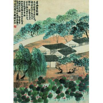 齐白石癸酉(1933)年作莲池书院图镜心