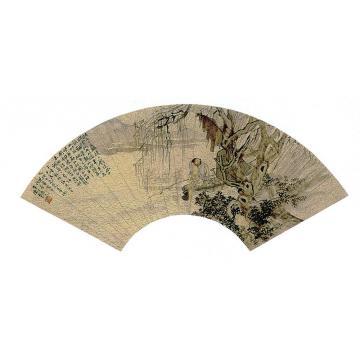 陈半丁1930年作渔翁濯足图扇面