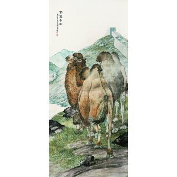 刘奎龄壬申(1932年)作紫塞春风立轴