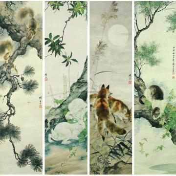 刘奎龄1944年作动物四屏