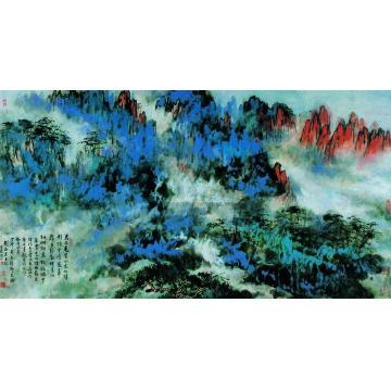 刘海粟丁卯(1987)年作黄山图镜心