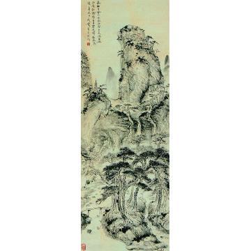 钱瘦铁乙酉(1945)年作长松高秋图立轴