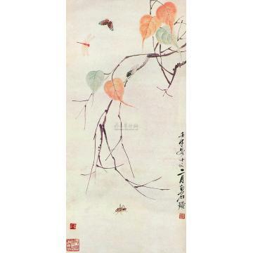 齐白石壬午(1942年)作贝叶草虫镜心
