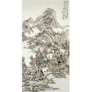 吴徵疏林山居图轴