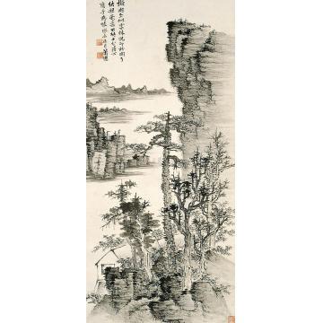 萧愻江崖疏林图轴