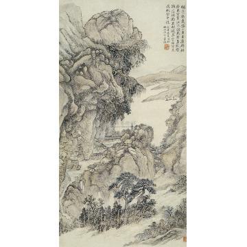周耀溪江帆影图轴