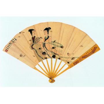 傅抱石丁亥(1947)年作湘君湘夫人图楷书九歌扇面