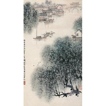 钱松嵒1964年作江南霁色立轴字画之家
