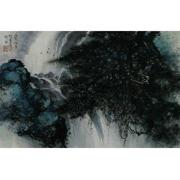 黎雄才丙寅(1986)年作山水镜心