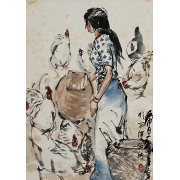 黄胄1978年作傣家姑娘立轴