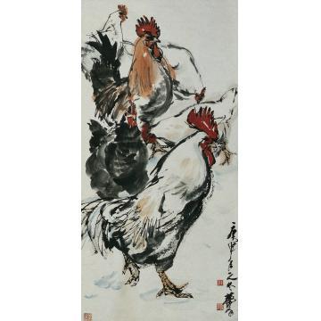 黄胄庚申(1980)年作鸡立轴
