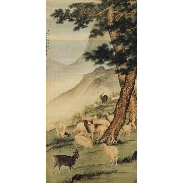 陈缘督壬申(1932)年作松林羊群立轴
