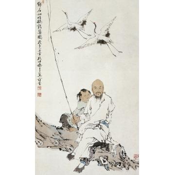 范曾乙丑(1985)年作侣鹤戏婴图立轴