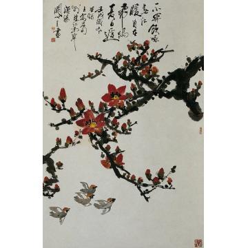 关山月壬戌(1982年)作红棉小鸟立轴