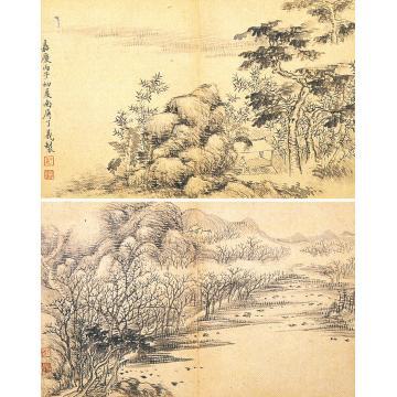 了义和尚嘉庆丙子(1816)年作烟云供养册页页(十二开选二)