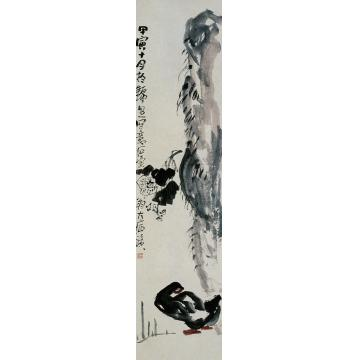 陈子庄甲寅(1974年)作石鸭立轴