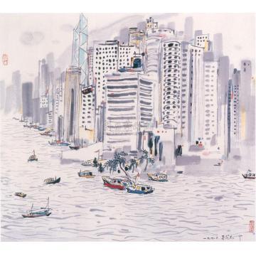 吴冠中一九九零年作香港海景