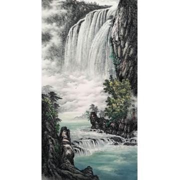 张继强国画山水黄果树瀑布字画之家
