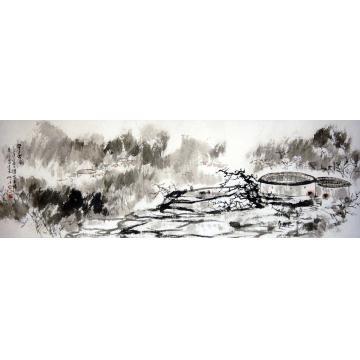 林立中国画山水早春二月字画之家