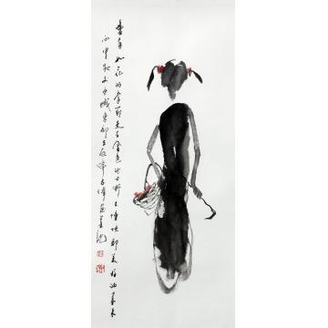 刘志伟国画人物童年如花字画之家