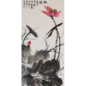 陈文赞三尺竖幅国画花鸟红莲字画之家