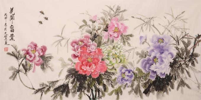 陈文赞牡丹花卉花开富贵字画之家