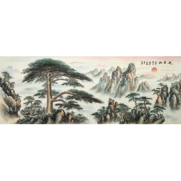 戈加军六尺整张,横幅国画山水迎客松字画之家