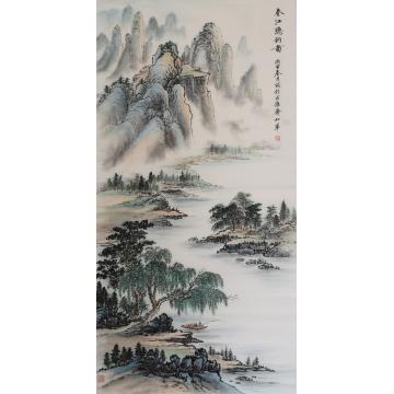 戈加军四尺整张,竖幅国画山水春江隐钓图字画之家