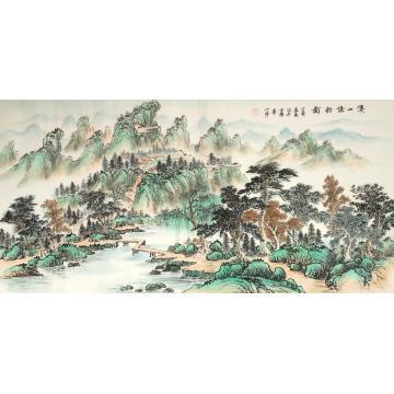戈加军四尺整张,横幅国画山水溪山隐钓图字画之家