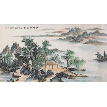 戈加军四尺整张,横幅国画山水江南春色图字画之家