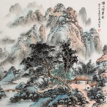 戈加军斗方国画山水溪山读书图字画之家