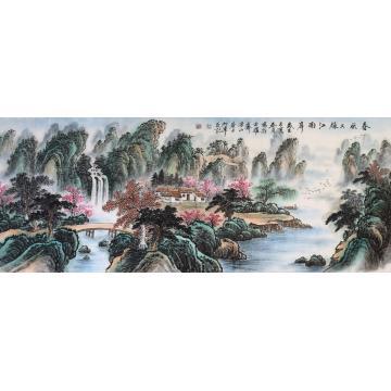 戈加军小六尺整张,横幅国画山水春风又绿江南岸字画之家