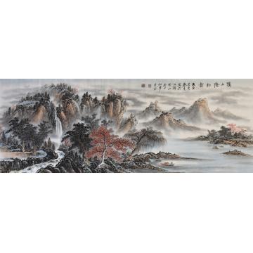 戈加军小六尺整张横幅国画山水溪山隐钓图字画之家