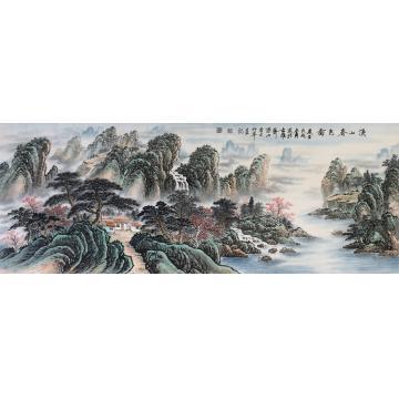 戈加军小六尺整张,横幅国画山水溪山春色图字画之家