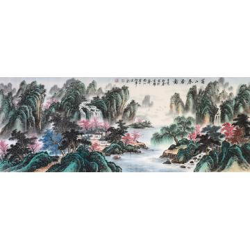 戈加军小六尺整张横幅国画山水富山春居图字画之家
