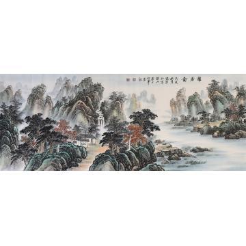 戈加军小六尺整张,横幅国画山水雅居图字画之家