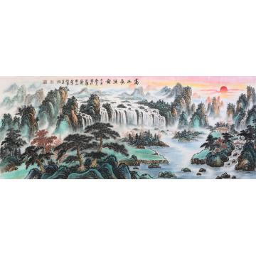 戈加军小六尺整张,横幅国画山水富水长流图字画之家