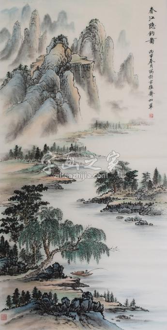 戈加军国画山水春江隐钓图字画之家