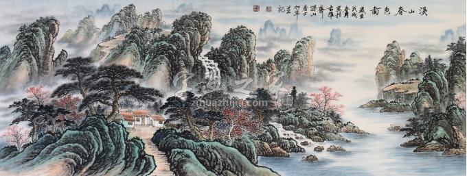 戈加军国画山水溪山春色图字画之家