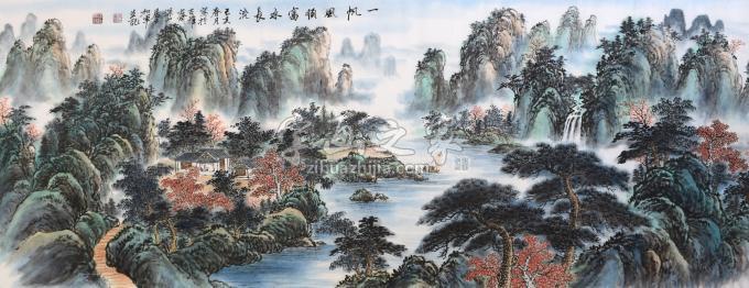 戈加军国画山水一帆风顺富水长流字画之家