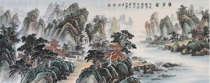 戈加军国画山水雅居图字画之家