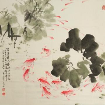 杨德利四尺斗方国画花鸟富贵鱼字画之家