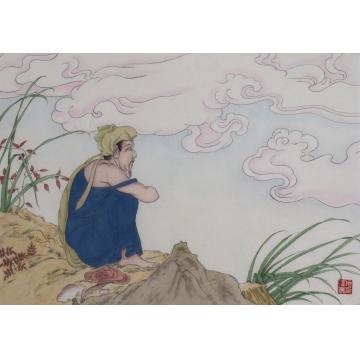 施瑞康国画人物坐看云起字画之家