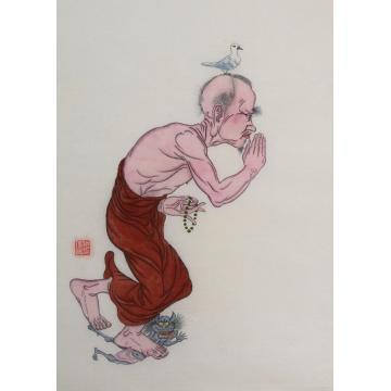施瑞康四尺六开国画人物明首尊者字画之家
