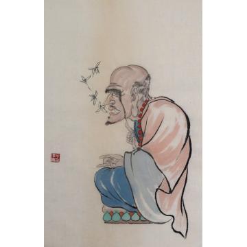 施瑞康四尺六开国画人物难陀多化尊者字画之家